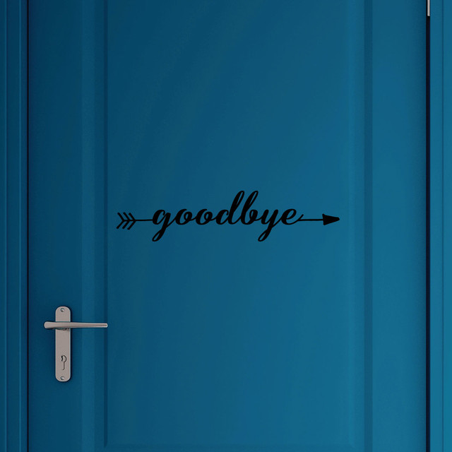 Foyer Office Quotes : Goodbye arrow right entryway welcome wall quotes vinyl