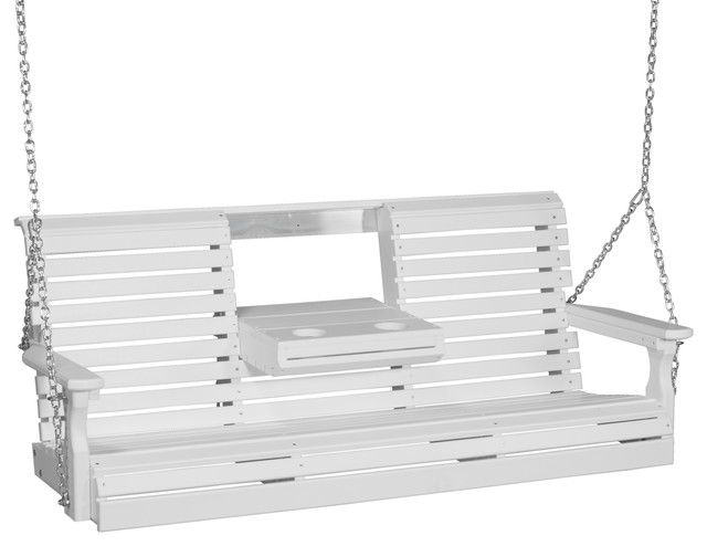 5&x27; Poly Rollback Porch Swing, White.