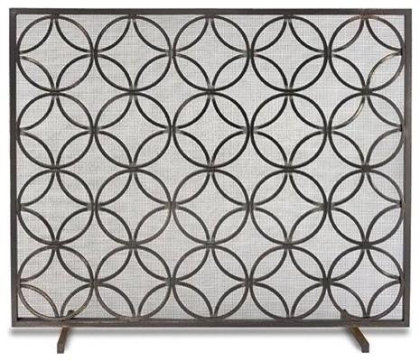 Single Panel Bedford Screen- Matte Black transitional-fireplace-screens - Single Panel Bedford Screen- Matte Black - Transitional