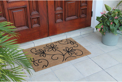 "First Impression Jasmine Coco Flocked Doormat, Large Size 24""x36""."