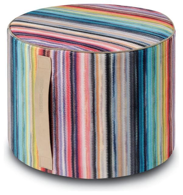 Siberia Cylinder Pouf, Multicolor.