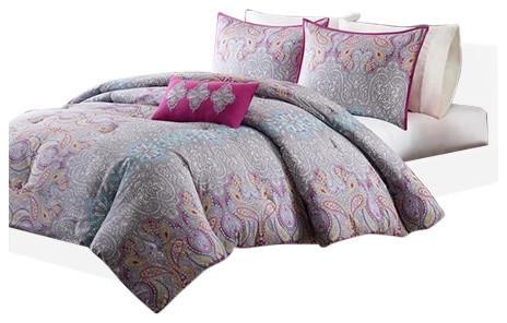 olliix peach skin printed comforter set comforters and comforter sets houzz. Black Bedroom Furniture Sets. Home Design Ideas