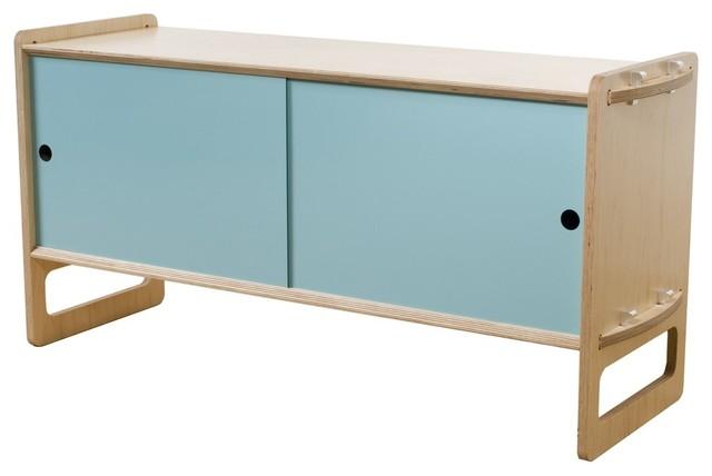 Key Modular Storage, Maple, Medium, Light Blue Doors
