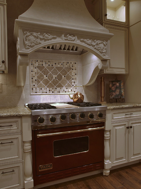White Antique-look Old-World Kitchen Hood - Traditional - Kitchen - Denver - by Kitchens by ...