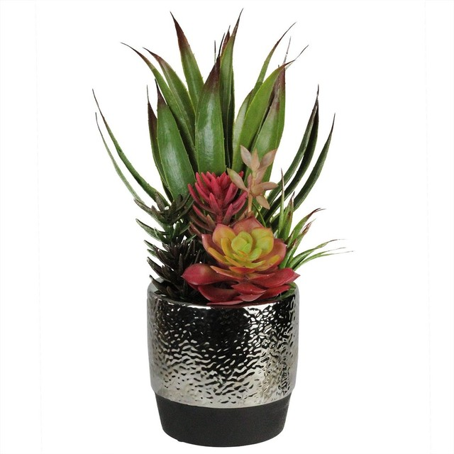 """15"""" Artificial Succulents and Agave in Decorative Silver Ceramic Pot"""