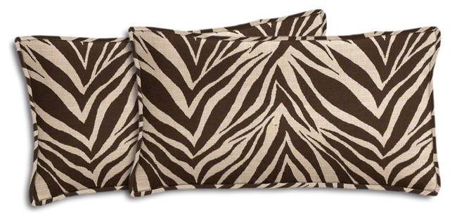 brown and beige zebra outdoor lumbar pillow set cushionsand
