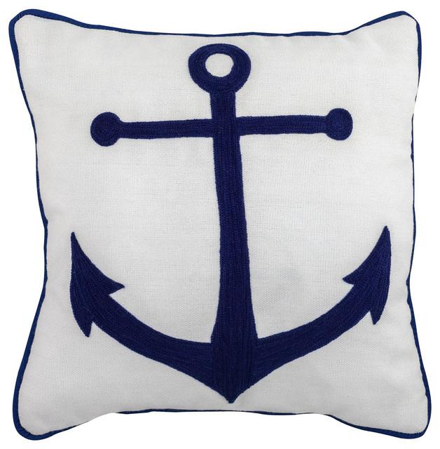 Handmade Embroidered Coastal Outdoor, Outdoor Anchor Pillow