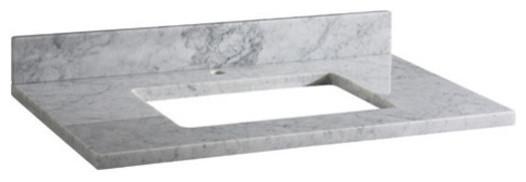 "Stone Top, 43"" White Carrara Marble Vanity Single Faucet Hole."