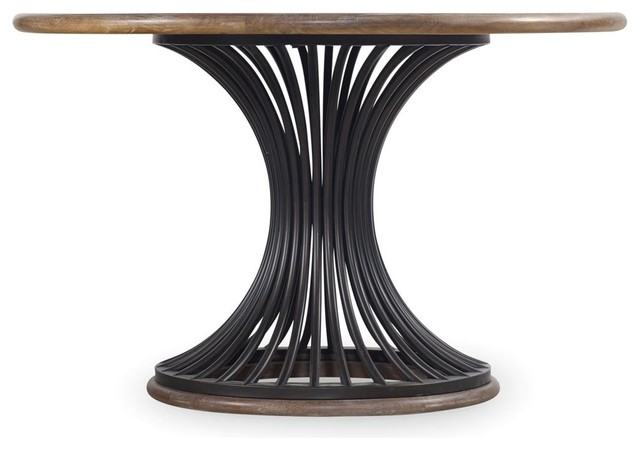 Cornelius Metal And Wood Round Dining Table, 54.