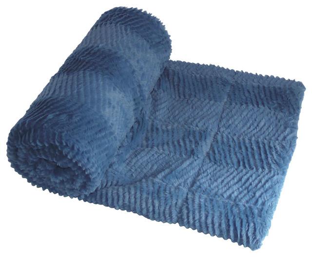 "Herringbone Jumbo Over-Size Faux Fur Throw Blanket, Blue, 60""x80"""