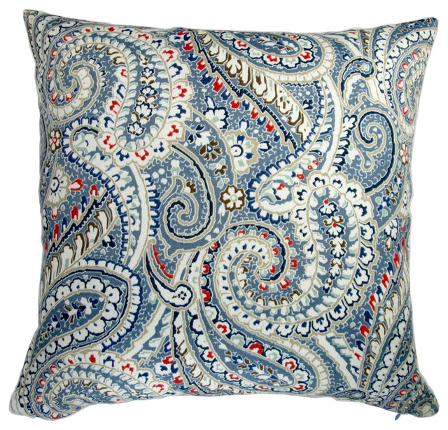 Artisan Pillows 18 Quot Indoor Outdoor Geometric Paisley Blue