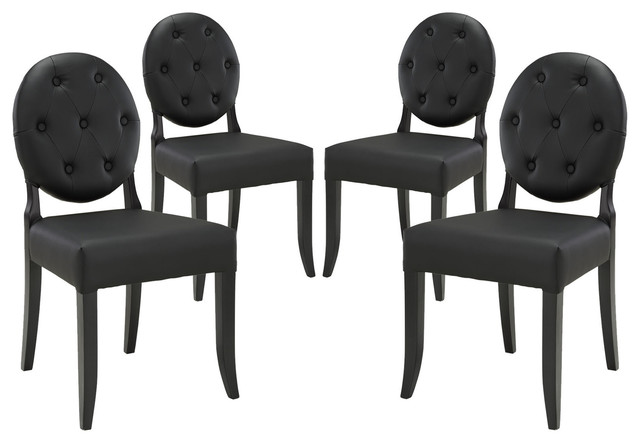 Modway Button Dining Side Chairs, Black, Set of 4