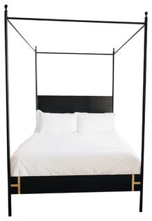 The Josephine Bed-Four Poster Black Iron Canopy Bed - Contemporary - Canopy Beds - by Doorman Designs