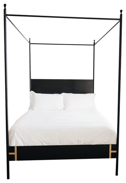 The Josephine Four Poster Black Iron Canopy Bed King