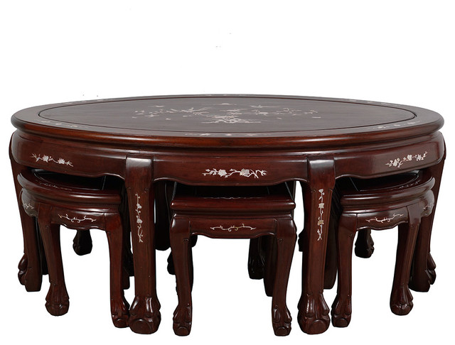 Tremendous Conisgned Chinese Rosewood Mop Inlay Coffee Table With 6 Stools Gmtry Best Dining Table And Chair Ideas Images Gmtryco