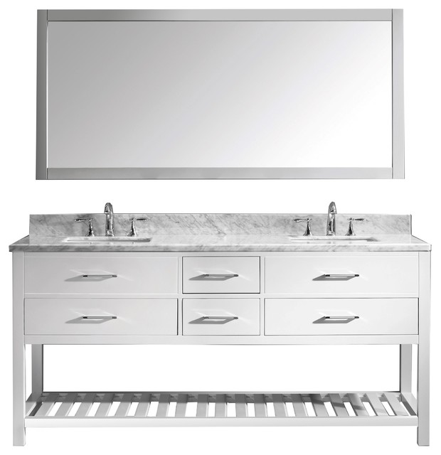 "Caroline Estate 72"" Double Vanity, White, Without Faucet, Square, Mirror"