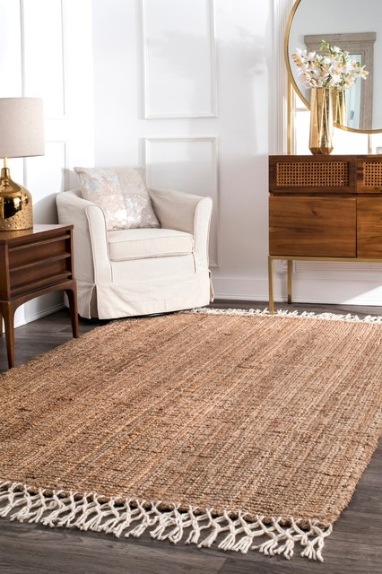 Natural Fibers Hand-Woven Fringe Natural Area Rug, Natural, 8&x27;x10&x27;.