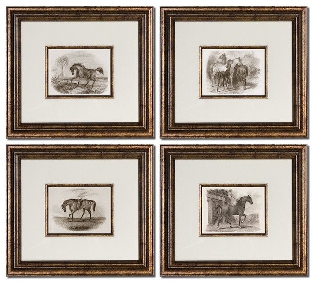 Set Of 4 Silver Bronze Wall Art White Mats Prints Bronze Leaf Frames Decor  Traditional