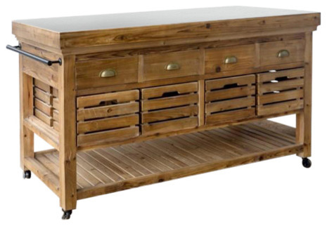 Rolling Kitchen Island With Stone Top Rustic Kitchen Islands