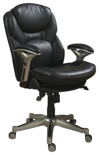 serta back in motion office chair in black bonded leather office