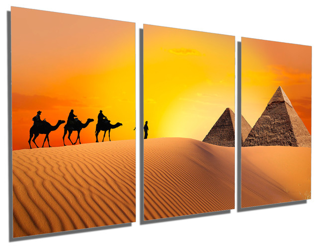 Triptych Wall Art egypt pyramids caravan, metal print wall art, 3 panel split