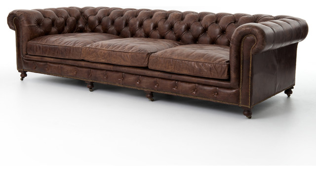 Club Chesterfield Tufted Brown Leather Sofa, 96W - Rustic - Sofas ...