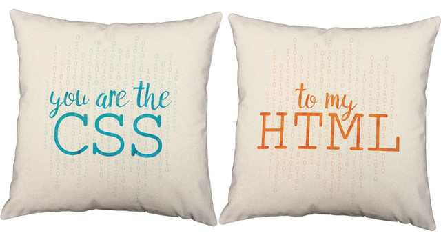 CSS HTML Love Throw Pillows, Indoor Covers Only