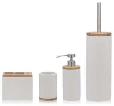Bathroom Accessories Sealskin Grace White Polyresin And Bamboo 4 Piece Set Contemporary Bathroom Accessory Sets By Present Usa Company Houzz