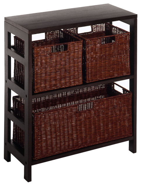 Wicker Basket Storage Unit