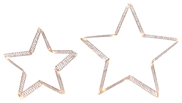 Lighted Holiday Gold Glitter Stars, Set Of 2.