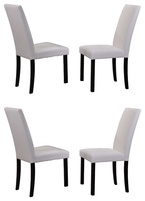 Faux Leather Parsons Chairs White Set of 4  sc 1 st  Houzz & August Dining Chairs Set of 4 - Transitional - Dining Chairs - by ...
