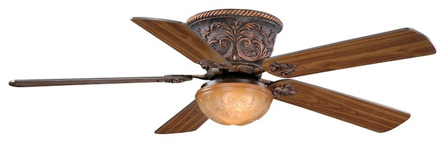 Corazon 2-Light Ceiling Fan, Aged Bronze And Margaux Glass.