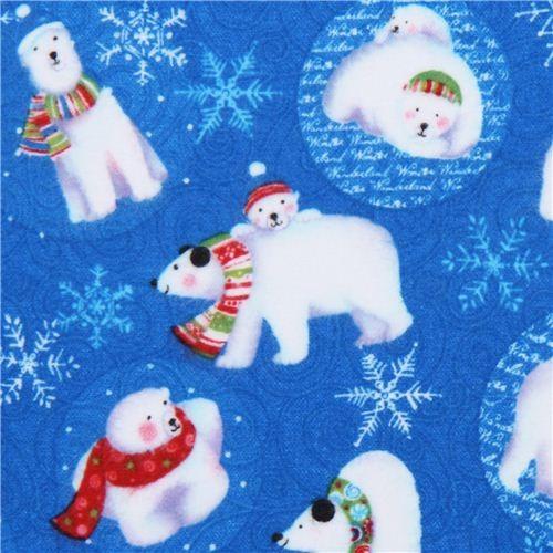 blue polar bear flannel fabric Clothworks Winter Magic