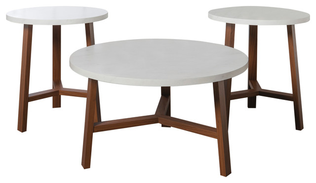 3 Piece Mid Century Modern Accent Table Set Faux White Marble Acorn