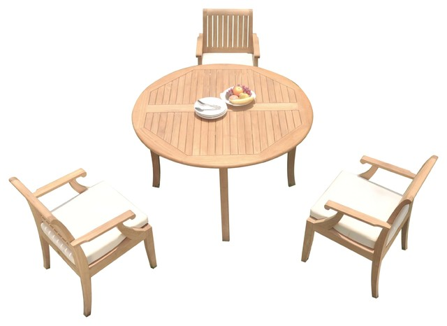 52 Round Table.4 Piece Outdoor Patio Teak Dining Set 52 Round Table 3 Lagos Arm Chairs