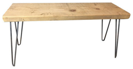 Handmade Coffee Table, Reclaimed Wood, Hairpin Legs, 12x48x18, Natural Wood