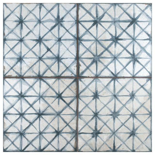 """17.63"""" x 17.63"""" Royals Cathedral Ceramic Floor and Wall Tile, Set of 5, Blue"""