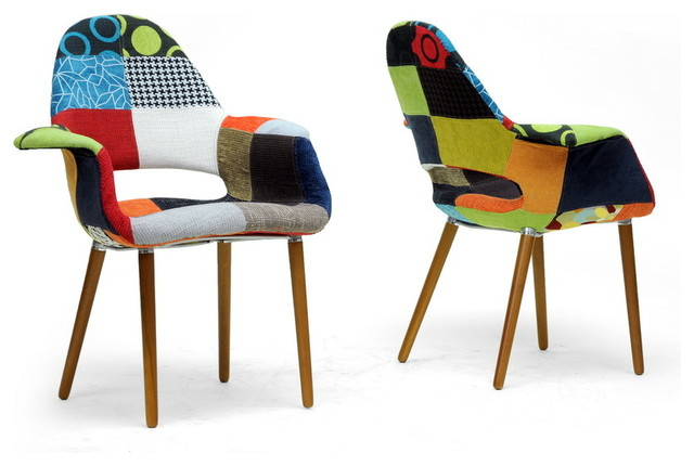 Baxton Studio Forza Patchwork Mid Century Style Accent Chair Set Of 2 Midcentury