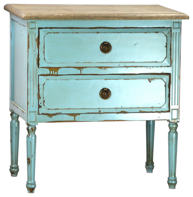 Popular Teal Distressed Side Table - Rustic - Outdoor Side Tables - by  GB39
