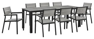 Maine 9-Piece Outdoor Patio Dining Set, Brown and Gray