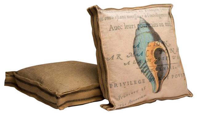 Blue Shell Burlap Accent Pillow - Beach Style - Decorative Pillows - by Trovati Studio