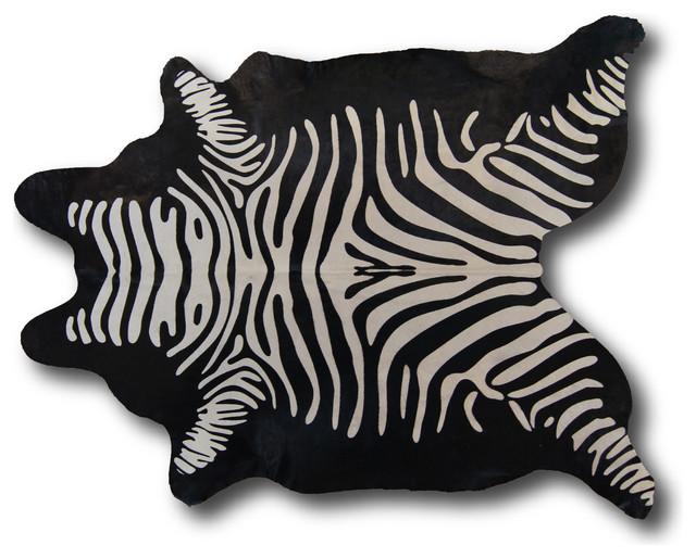 Black Zebra Natural Hide Rug Animal Print Cowhide