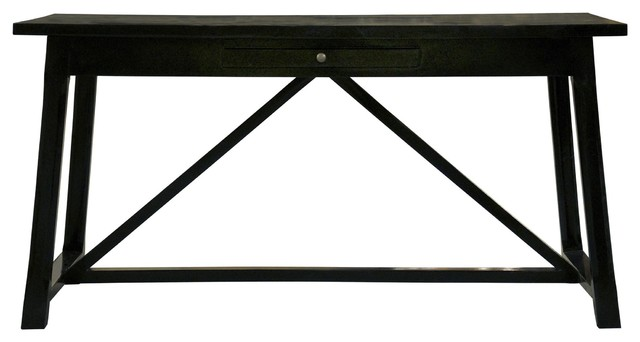 Super 60 L Office Desk Birch Wood Distressed Black Hand Painted Finish Traditional Download Free Architecture Designs Scobabritishbridgeorg