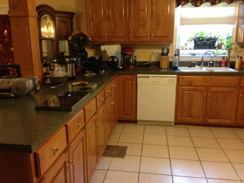 Dark Grey Floors Blue Butterfly Granite Maple Cabinets