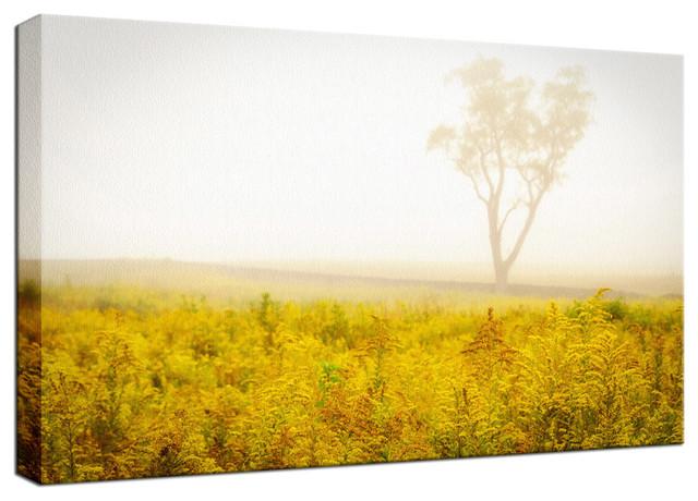 """Dreams of Goldenrod and Fog"" Rural Fine Art Canvas Wall Art Print, 24""x36"""