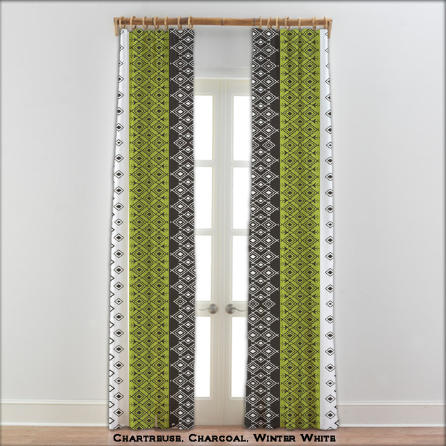 Moroccan Curtains In Charcoal Green And White