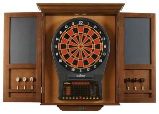 Dart Board Cabinet, Chestnut - Traditional - Darts And Dartboards - by Brunswick Billiards