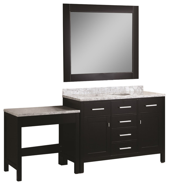 """London 48"""" Single Sink Vanity Set With Make-Up Table, Espresso."""