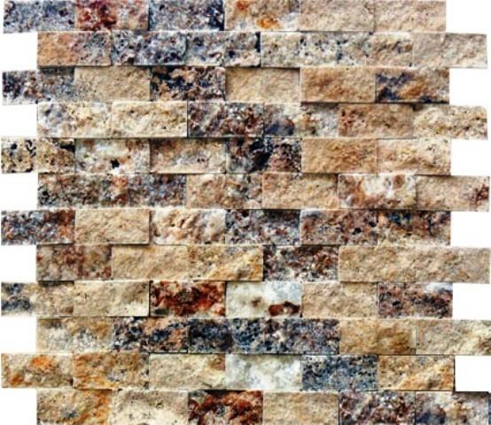 "Split Face Tile Tuscany Scabas, 12""x12"", Set of 10"