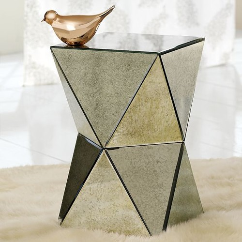 Faceted Mirror Side Table contemporary side tables and accent tables